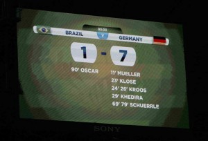 A general view of the scoreboard shows the result at the end of the 2014 World Cup semi-finals between Brazil and Germany at the Mineirao stadium in Belo Horizonte